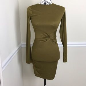 Misguided | olive green bodycon dress
